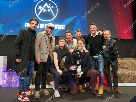 Stock Photo of Mathias Mlekuz, Arnaud Ducret and the Cast of ' Mine de rien' receive the Public award
