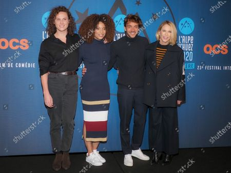 Stock Photo of Stefi Celma, Ruben Alves, Alexandre Wetter and Pascale Arbillot attending 'Miss' photocall before the closing ceremony and screening