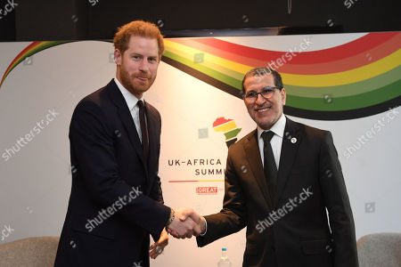 Prince Harry, meets Saadeddine Othmani, Prime Minister of Morocco at Intercontinental Hotel