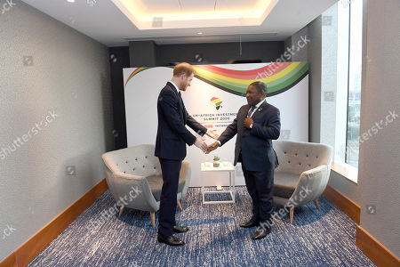 Prince Harry meets Filipe Nyusi, President of Mozambique at the Intercontinental Hotel