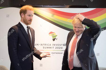 Stock Photo of Prince Harry and Prime Minister Boris Johnson at the Intercontinental Hotel