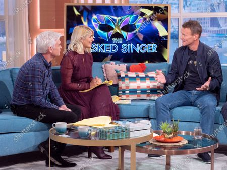 Phillip Schofield and Holly Willoughby with Teddy Sheringham
