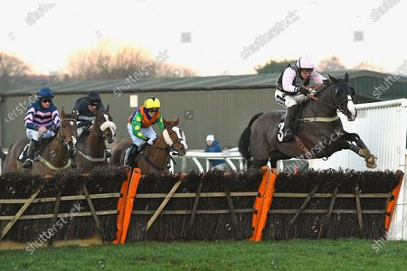 Stock Photo of Winner of The Follow Plumpton On Instagram Handicap Hurdle  The Tin Miner (3) ridden by Tom Cannon and trained by Chris Gordon  during Horse Racing at Plumpton Racecourse on 20th January 2020