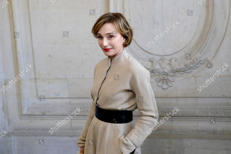 Stock Photo of Actress Kristin Scott Thomas poses before Dior Haute Couture Spring/Summer 2020 fashion collection, Monday Jan.20, 2020 in Paris