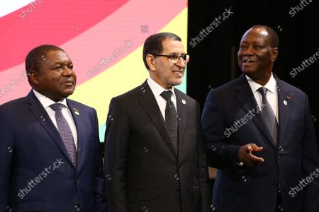 (L-R) Filipe Nyusi, Mozambique's president, Saad-Eddine El Othmani, Morocco's prime minister, and Alassane Ouattara, Ivory Coast's president, attend the family photo with leaders of African countries at the UK Africa Investment Summit in London, Britain, 20 January 2020.