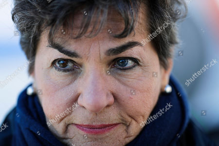 Stock Photo of Christiana Figueres listens to questions during an interview with the Associated Press prior to a news conference of ?The Unite Behind The Science' campaign ahead of the World Economic Forum in Davos, Switzerland, . The 50th annual meeting of the forum will take place in Davos from Jan. 21 until Jan. 24, 2020