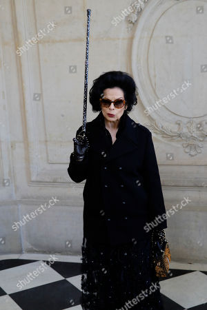 Bianca Jagger poses before Dior Haute Couture Spring/Summer 2020 fashion collection, Monday Jan.20, 2020 in Paris