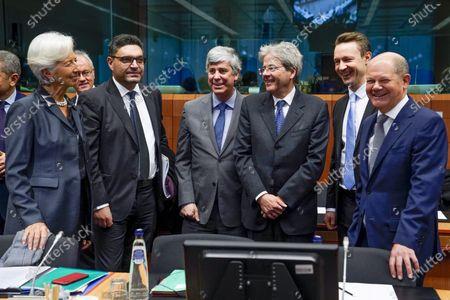 Christine Lagarde, Constantinos Petrides, Mario Centeno, Gernot Blumel, Paolo Gentiloni, Olaf Scholz