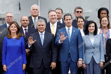 From the left: The Vice President of Colombia, Marta Lucia Ramirez; the president of Colombia, Ivan Duque; the US secretary of state, Mike Pompeo; the head of the National Assembly of Venezuela, Juan Guaido, and the Foreign Minister of Colombia, Claudia Blum, among others, pose for the official photo of the 3rd Hemispheric Ministerial Conference to Combat Terrorism, at the General Santander Police Cadet School, in Bogotal, Colombia, 20 January 2020. The Conference is attended by ministers and vice ministers of Foreign Affairs, Government and delegates from Argentina, Bolivia, Brazil, Canada, Chile, Colombia, Costa Rica, Ecuador, El Salvador, United States, Guatemala, Haiti, Honduras, Mexico, Panama Paraguay , Peru, Dominican Republic, Saint Lucia and Uruguay. The meeting is also attended by representatives from Spain, Israel and Venezuela as observers.