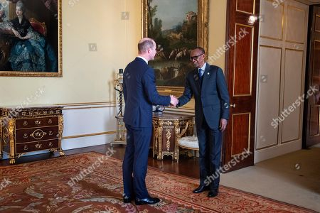Prince William receives the President of Rwanda, Paul Kagame, during an audience at Buckingham Palace