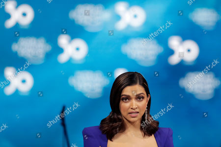 Actress Deepika Padukone, from India, addresses the audience after receiving a Crystal Award from Hilde Schwab, Chairwoman and Co-Founder of the World Economic Forum's World Arts Forum, during the ceremony for the Crystal Awards at the annual meeting of the World Economic Forumin Davos, Switzerland, . The 50th annual meeting of the forum will take place in Davos from Jan. 21 until Jan. 24, 2020