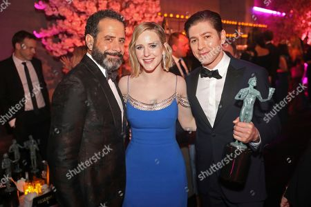 """Stock Image of Tony Shalhoub, Rachel Brosnahan, Michael Zegen. IMAGE DISTRIBUTED FOR PEOPLE MAGAZINE - Tony Shalhoub, from left, Rachel Brosnahan, and Michael Zegen, winners of the award for outstanding performance by an ensemble in a comedy series for """"The Marvelous Mrs. Maisel"""" attend the 2020 PEOPLE SAG Awards Afterparty at the Shrine Auditorium & Expo Hall, in Los Angeles"""