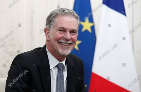 Reed Hastings, co-founder and CEO of Netflix, attends a meeting with France's President Emmanuel Macron during the Choose France summit at the Chateau de Versailles, outside Paris, France, 20 January 2020.
