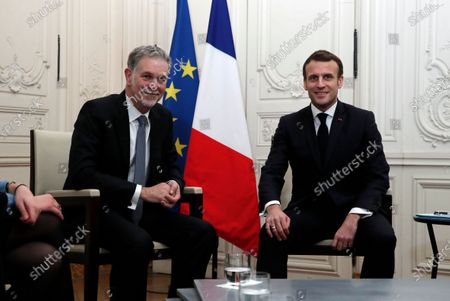 France's President Emmanuel Macron attends a meeting with Reed Hastings, co-founder and CEO of Netflix, during the Choose France summit at the Chateau de Versailles, outside Paris, France, 20 January 2020.