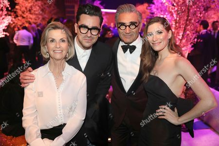 Deborah Divine, Dan Levy, Eugene Levy, Sarah Levy. Deborah Divine, from left, Dan Levy, Eugene Levy, and Sarah Levy attends the 2020 PEOPLE SAG Awards Afterparty at the Shrine Auditorium & Expo Hall, in Los Angeles