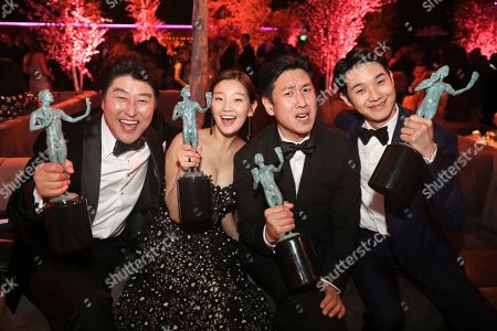 "Kang-Ho Song, Park So-dam, Lee Sun-kyun, Choi Woo-shik. Kang-Ho Song, from left, Park So-dam, Lee Sun-kyun, and Choi Woo-shik, winners of the award for outstanding performance by a cast in a motion picture for ""Parasite"" attend the 2020 PEOPLE SAG Awards Afterparty at the Shrine Auditorium & Expo Hall, in Los Angeles"