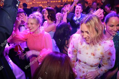 Elisabeth Moss, Sarah Goldberg. Elisabeth Moss, left, and Sarah Goldberg attend the 2020 PEOPLE SAG Awards Afterparty at the Shrine Auditorium & Expo Hall, in Los Angeles