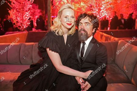 """Gwendoline Christie, Peter Dinklage. Tony Shalhoub, from left, Rachel Brosnahan, and Michael Zegen, winners of the award for outstanding performance by an ensemble in a comedy series for """"The Marvelous Mrs. Maisel"""" attend the 2020 PEOPLE SAG Awards Afterparty at the Shrine Auditorium & Expo Hall, in Los Angeles"""