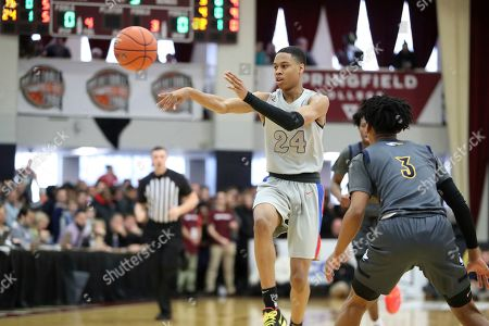 DeMatha's Jordan Hawkins #24 in action against Rancho Christian during a high school basketball game at the Hoophall Classic, in Springfield, MA