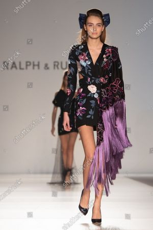 A model presents a creation from the Spring/Summer 2020 Haute Couture collection of British designers Tamara Ralph and Michael Russo for their label Ralph and Russo during the Paris Fashion Week, in Paris, France, 20 January 2020. The presentation of the Haute Couture collections runs from 20 to 23 January.