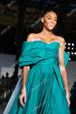 Canadian model Winnie Harlow presents a creation from the Spring/Summer 2020 Haute Couture collection of British designers Tamara Ralph and Michael Russo for their label Ralph and Russo during the Paris Fashion Week, in Paris, France, 20 January 2020. The presentation of the Haute Couture collections runs from 20 to 23 January.