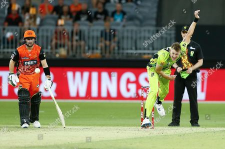 Stock Picture of Chris Morris of the Sydney Thunder bowls during the Scorchers innings