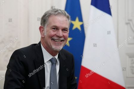 "Reed Hastings, co-founder and CEO of Netflix, attends a meeting with France's President Emmanuel Macron during the ""Choose France"" summit, at the Chateau de Versailles, outside Paris, France"