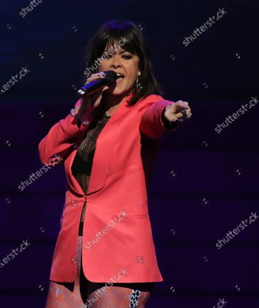 Stock Photo of Vanesa Martin performs after receiving the 'Best Female Artist' award during the Odeon Music Awards gala at the Royal Theater in Madrid, Spain, 20 January 2020. The Odeon awards honor the best Spanish albums and singers of the previous year.
