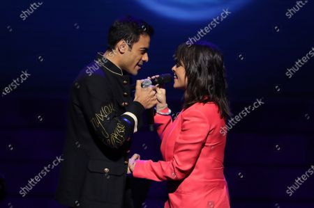 Vanesa Martin (R) performs together with Mexican singer Carlos Rivera (L) after receiving the 'Best Female Artist' award during the Odeon Music Awards gala at the Royal Theater in Madrid, Spain, 20 January 2020. The Odeon awards honor the best Spanish albums and singers of the previous year.