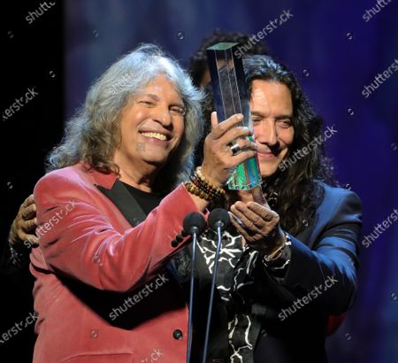 Jose Merce (L) and guitarist Tometito receive the 'Best Flamenco Album' award during the Odeon Music Awards gala at the Royal Theater in Madrid, Spain, 20 January 2020. The Odeon awards honor the best Spanish albums and singers of the previous year.