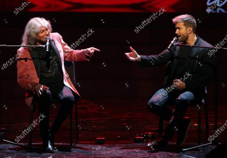 Jose Merce (L) performs together with Pablo Alboran (R) after receiving the 'Best Flamenco Album' award during the Odeon Music Awards gala at the Royal Theater in Madrid, Spain, 20 January 2020. The Odeon awards honor the best Spanish albums and singers of the previous year.