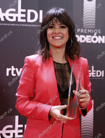 Vanesa Martin poses after receiving the 'Best Female Artist' award during the Odeon Music Awards gala at the Royal Theater in Madrid, Spain, 20 January 2020. The Odeon awards honor the best Spanish albums and singers of the previous year.