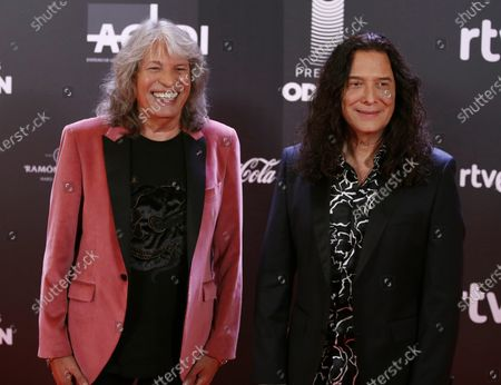 Stock Image of Jose Merce (L) and guitarist Tomatito (R) pose for the photographers  prior to the Odeon Music Awards gala at the Royal Theater in Madrid, Spain, 20 January 2020. The Odeon awards honor the best Spanish albums and singers of the previous year.