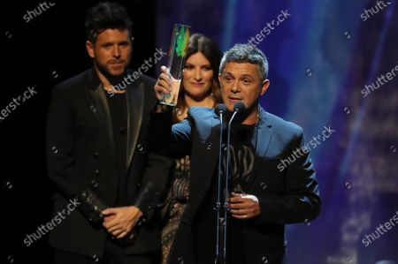 Alejandro Sanz receives the 'Spain's most successful commercial album in 2019' award for his last album '#ElDisco' during the Odeon Music Awards gala at the Royal Theater in Madrid, Spain, 20 January 2020. The Odeon awards honor the best Spanish albums and singers of the previous year.