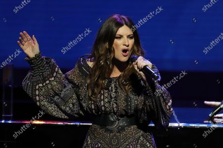 Stock Image of Laura Pausini performs a concert during the Odeon Music Awards gala at the Royal Theater in Madrid, Spain, 20 January 2020. The Odeon awards honor the best Spanish albums and singers of the previous year.