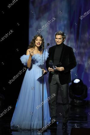 Ana Guerra (L) and Carlos Baute (R) of Venezuela during the Odeon Music Awards gala at the Royal Theater in Madrid, Spain, 20 January 2020. The Odeon awards honor the best Spanish albums and singers of the previous year.