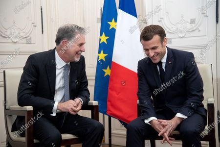 Netflix CEO Reed Hastings and French President Emmanuel Macron