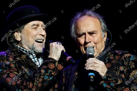 Stock Image of Joaquin Sabina (L) and Joan Manuel Serrat (R) perform as part of their 'No hay dos sin tres' (lit. No two without three) tour during a concert at the WiZink Center in Madrid, Spain, 20 January 2020.