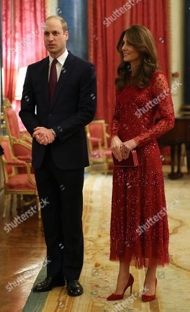 Prince William and Catherine Duchess of Cambridge at a reception at London's Buckingham Palace to mark the UK-Africa Investment Summit