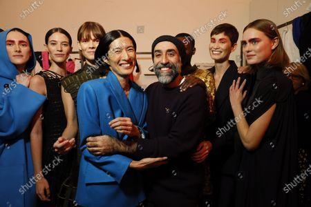 Rabih Kayrouz and models backstage