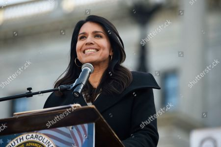 Democratic presidential contender Tulsi Gabbard at a Martin Luther King Jr. Day rally, in Columbia, S.C