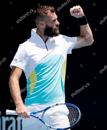 France's Benoit Paire celebrates after defeating Germany's Cedrik-Marcel Stebe during their first round singles match at the Australian Open tennis championship in Melbourne, Australia