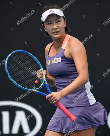 China's Peng Shuai reacts during her first round singles match against Japan's Nao Hibino at the Australian Open tennis championship in Melbourne, Australia