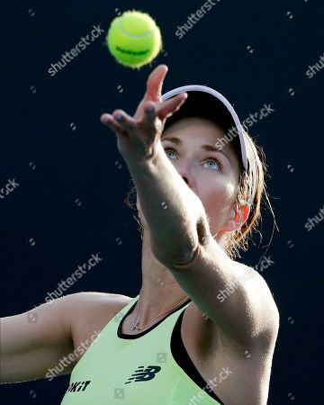 Danielle Collins of the U.S. serves to Russia's Vitalia Diatchenko during their first round singles match at the Australian Open tennis championship in Melbourne, Australia