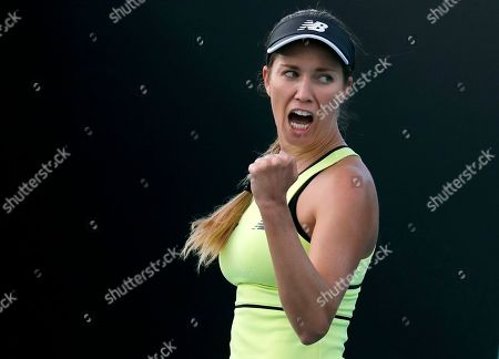 Danielle Collins of the U.S. reacts during her first round match against Russia's Vitalia Diatchenko at the Australian Open tennis championship in Melbourne, Australia