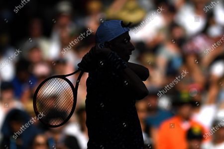 Alexei Popyrin of Australia in action against Jo-Wilfried Tsonga of France during their first round match at the Australian Open tennis tournament at Melbourne Park in Melbourne, Australia, 21 January 2020.