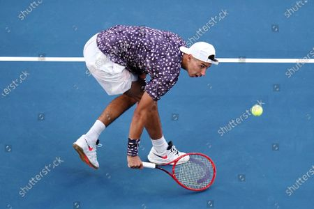 Alexei Popyrin of Australia in action during his first round match against Jo-Wilfried Tsonga of France at the Australian Open Grand Slam tennis tournament at Melbourne Arena in Melbourne, Australia, 21 January 2020.
