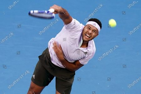 Stock Image of Jo-Wilfried Tsonga of France in action during his first round match against Alexei Popyrin of Australia at the Australian Open Grand Slam tennis tournament at Melbourne Arena in Melbourne, Australia, 21 January 2020.