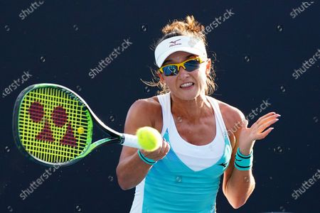 Arina Rodionova of Australia in action during her first round match against Kateryna Bondarenko of Ukraine at the Australian Open Grand Slam tennis tournament at Rod Laver Arena in Melbourne, Australia, 21 January 2020.