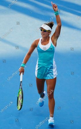 Arina Rodionova of Australia reacts during her first round match against Kateryna Bondarenko of Ukraine at the Australian Open Grand Slam tennis tournament at Rod Laver Arena in Melbourne, Australia, 21 January 2020.